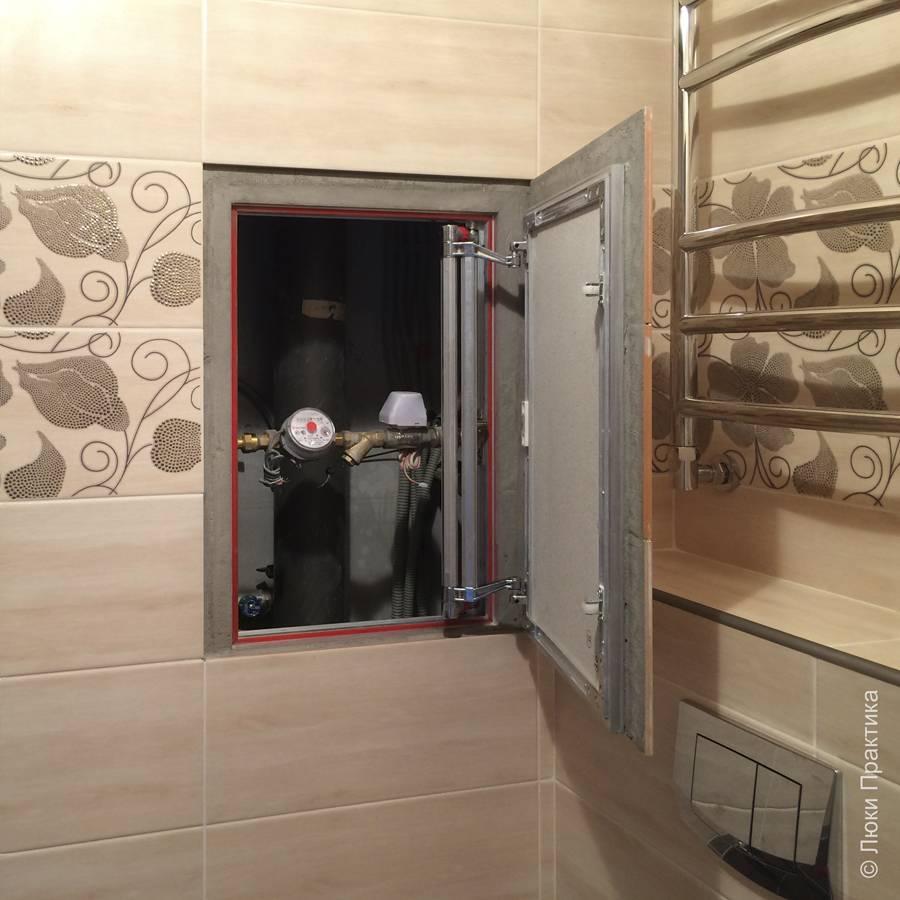 Фото люка Евроформат Р АТР 40-60 в интерьере санузла в открытом виде