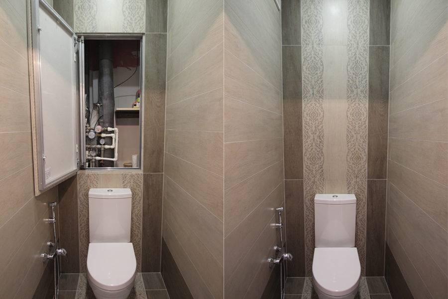 Фото люка-невидимка в туалете в открытом и закрытом положении.